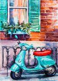Peinture d'huile d'attrayant Handmade Motobike vert pour la décoration d'accueil