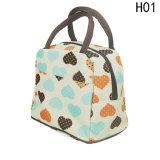 Sacs thermiques de déjeuner de pique-nique de nourriture de sac de déjeuner de toile isolés par sac portatif de déjeuner de mode pour l'emballage de sac de cadre de déjeuner de femme