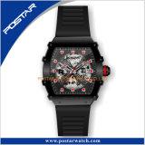 Orologio automatico degli uomini di scheletro luminosi eccellenti con il braccialetto di gomma