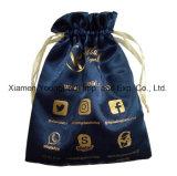 Sacchetto del tessuto del raso del sacchetto del regalo dei monili stampato abitudine dell'oro di modo
