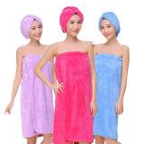 昇進の女性の浴室タオルの服の女の子の珊瑚の羊毛の浴室の覆いおよび毛の乾燥の帽子の浴衣セット
