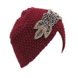 Женщин трикотажные Rhinestone Flower Red Hat Креста спицы ношение тюрбана зимнего капота Индии цоколь Red Hat (HW128)