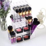 Encimera certificadas SGS 100% acrílico transparente maquillaje labial organizador de escritorio