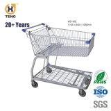 Como150UM 150L-Metal Carrinho de Compras para supermercado com 5 rodas de pu'