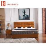 حديثة جلد تغطية سرير مع [ووودن فرم] [بد شيت] يثبت لأنّ فندق
