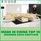 Sala de estar moderna americana U sofá de couro com LED
