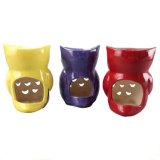 Colore rosso di ceramica dell'olio del Potpourri dello scaldino della torta & della candela & dell'olio di disegno di figura del gufo