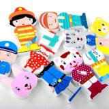 hölzerne Karikatur-Magnetschriftzeichen scherzt der Neuheit-3D Ausbildungs-Spielzeug