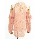 Die neue Form-Art fertigt Blusen-lange Hülsen-Aufflackern-Öffnungs-Form-Stulpe-Frauen-Oberseite-Bluse kundenspezifisch an