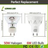 El equivalente de 50W 500lm GU10 6W de 110-240 V Ce RoHS foco LED