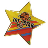 Contactos de encargo baratos del botón del epóxido de la insignia de la estrella con el tema del baloncesto (A21)