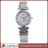 Frauen-Form-Kristallquarz-Edelstahl-Armbanduhr