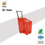 68L de grote Grote Supermarkt die van de Grootte Plastic het Winkelen Mand Rolling