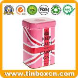 el metal cuadrado de encargo 128g/4.5oz puede los estaños del té para la caja del té