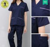 A roupa de lavagem Sleeve brevemente o uniforme dental da enfermeira da roupa de trabalho das luvas longas rachadas das bolsas da escova do algodão do quarto de funcionamento do terno