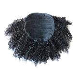 加工されていないブラジルの人間の毛髪のドローストリングのポニーテールのねじれたカーリーヘアー