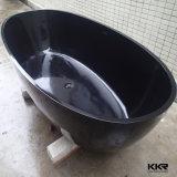 Superfície sólida de resina acrílica preta Pedra Banheira