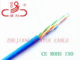 Cuivre nu massif 23AWG 4pr câble CAT6 avec gaine en PVC (250 MHz) Fluke test a réussi