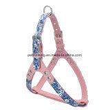 花プリントPUペットカラー鎖および馬具