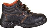 Ботинки безопасности высокого качества пальца ноги PU единственные черные стальные
