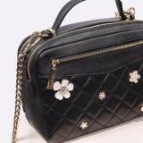 工場PUの革製バッグ要素の高品質の女性袋の花が付いている最新のデザイン女性袋