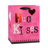 Bolsas de papel del regalo del alimento de los cosméticos de la ropa del color de rosa del día de tarjeta del día de San Valentín