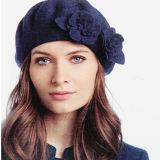 Dame-Wollen der Frauen wärmen Angora-Winter-Blumen-Herbst-Sprung-Schutzkappen-Hut-Barett (HW810)