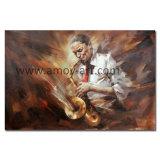 Handgemachtes Musiker-Ölgemälde auf Segeltuch für Hauptdekor