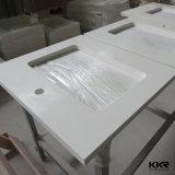 Верхняя часть тщеты ванной комнаты камня кварца Kingkonree чисто белая (V170823)