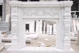 De witte Marmeren Dekking van het Ontwerp van de Open haard