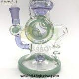 Quemador de aceite de vidrio de alta calidad científica reciclador de tubo de vidrio el hábito de fumar pipa de agua Jld-09