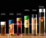 Cilindro Estilo Voss Beverage garrafa de vidro com tampa de plástico