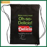 Оптовый черный мешок Backpack Drawstring хлопка (TP-dB060)