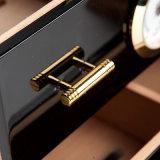 Baksel Humidor van de Piano van de Sigaret van de Ceder van het Kabinet van de Doos van de Sigaret van Cohiba het Zwarte 3 Laden met Hygrometer & Luchtbevochtiger