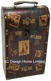 El diseño de sellos decorativos antiguos solo la impresión de cuero de PU/caja de vino de almacenamiento de madera MDF