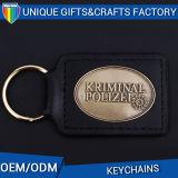 Fabricación personalizada de mayorista de regalo Promociones de metal llavero de cuero