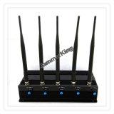 Teléfono celular 5 bandas Jammer / Blocker para 2g + 3G + WiFi + Lojack; 5 Jammer de la célula de la antena, Jammer del GPS, Jammer de WiFi