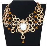 El verano de la moda de joyería /2013 Aleación de zinc con chapado en oro amarillo de cristal grande Estrás Chunky collar de flores exóticas para la Mujer tipo sin plomo (Pn-073
