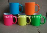 Caneca cerâmica da pintura de borracha, caneca de néon da cor da pintura de borracha