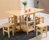 Tabla y sillas de plegamiento de madera sólida fijadas con precio barato