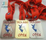 Jiaboの供給亜鉛合金のリボンが付いているカスタム記念品のトロフィの金属の金のスポーツのエナメルの柔道メダル