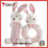 Vulde het Roze Konijn van de Baby van de veiligheid het Zachte Stuk speelgoed van de Rammelaar van de Baby van de Pluche