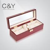 Caixa de empacotamento do relógio de madeira dobro lustroso luxuoso