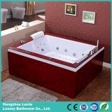 Luxo Duplo Pessoa banheira jacuzzi com aba de madeira (TLP-666-saia de madeira)