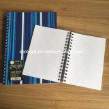 Des Streifen-Drucken-pp. Notizbuch gewundenes Notizbuch-doppeltes gewundenes Polydes deckel-persönliches A4/A5