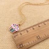 금은 2개의 색깔 사기질 모조 다이아몬드 케이크 펜던트로 얇은 사슬 숨막히게 하는 것 목걸이를 도금했다