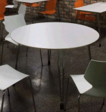 フォールドのステンレス鋼の円形の食堂テーブル無し