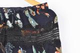Кофточка шеи шлюпки втулки флористического печатание женщин способа длинняя с втулкой шнурка