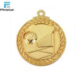 Médaille faite sur commande de sport de blanc de logo de couleur en bronze argentée d'or avec la lanière