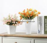 Mazzo di seta dei fiori artificiali dei tulipani di colore rosa di prezzi di fabbrica per la decorazione di cerimonia nuziale